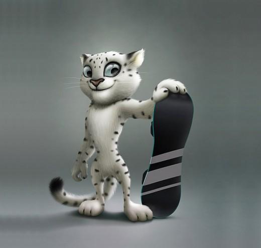 Леопард, Белый мишка и Зайка - талисманы Сочи-2014