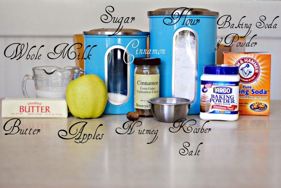 Сахар, мука, гашеная сода, пекарский порошок, корица, молоко, сливочное масло, яблоко, мускатный орех, соль
