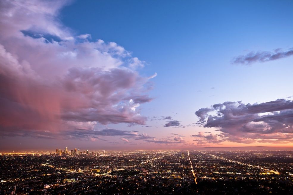 Закат над Лос-Анджелесом, США