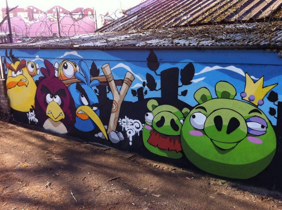 Граффити  Angry Birds в Бристоле